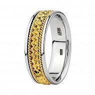 Комбинированное обручальное кольцо из белого и желтого золота